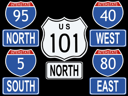 indication: American Interstate and Highway signs illustration