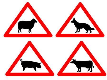 sheep warning: warning livestock and sheep dog signs Illustration