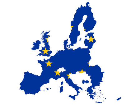 map of European union and EU flag illustration Vector