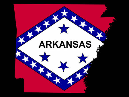 arkansas state map: Map of the State of Arkansas and their flag