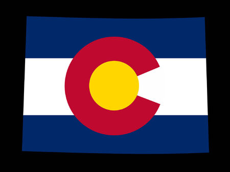 Map of the State of Colorado and their flag