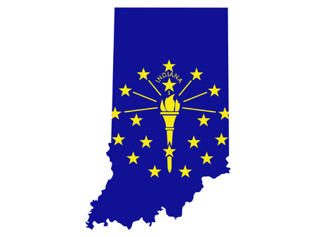 american states: Map of the State of Indiana and their flag