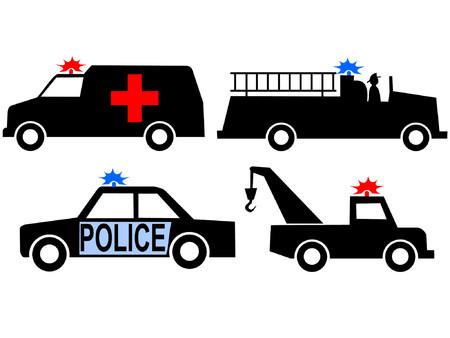 camion de bomberos: Carro del fuego del coche del polic�a de la ambulancia y carro del remolque Vectores