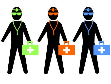 erste hilfe koffer: bunte �rzte mit Erste-Hilfe-Set und Stethoskop  Illustration