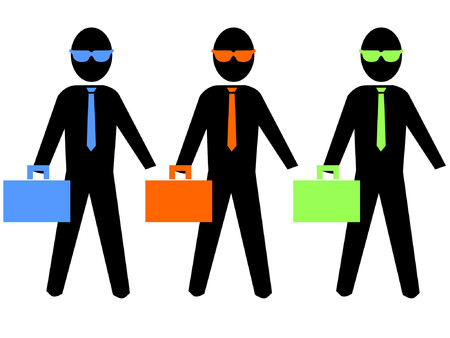 colourful business men with brief cases illustration Vector