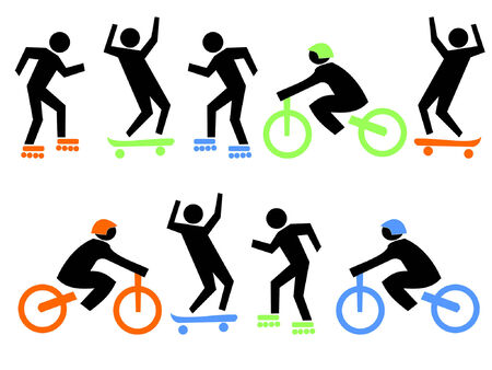 boarders: skaters, skate boarders, and cyclists ilustration