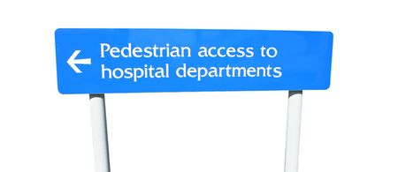 Pedestrian access to hospital departments sign photo