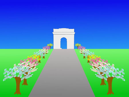 Arc de Triomphe and Champs Elysees Paris in spring Stock Vector - 866454
