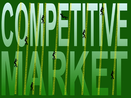 clamber: competive market with figures climbing ladders