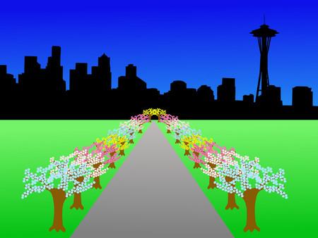 seattle skyline: Seattle skyline and springtime blossom on trees