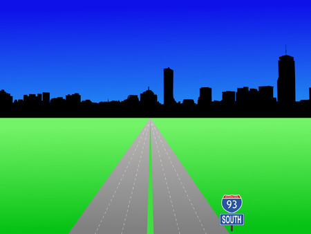 boston skyline: Boston skyline and interstate 93 illustration Illustration