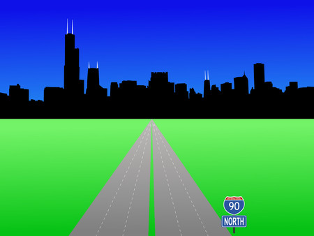 Chicago Skyline and interstate 90 illustration Vector
