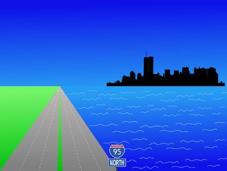 deserted: Former Lower Manhattan skyline and interstate 95 illustration