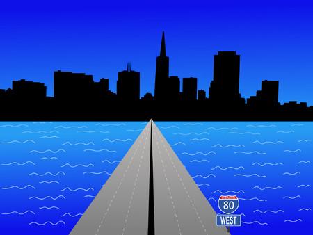 interstate 80: San Francisco skyline and interstate 80 illustration