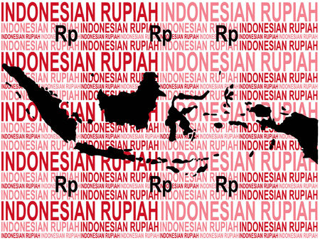 indonesian: Indonesian currency with map of Indonesia