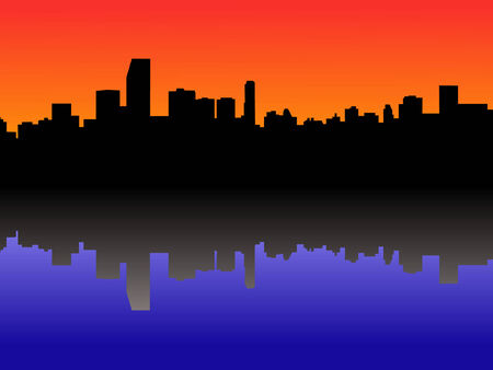 miami: Miami Skyline reflected in water at sunset