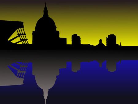 St Pauls and Millennium Bridge at sunset Stock Vector - 866102