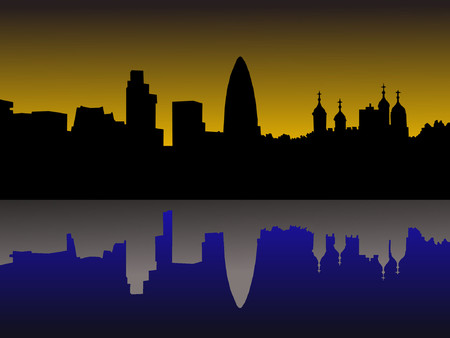 gherkin building: London skyline including Tower of London at sunset