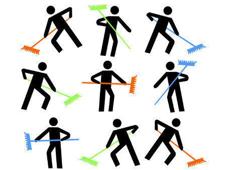 numerous: numerous workers with colorful brooms sweeping