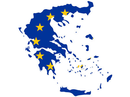 map of Greece and European union flag illustration Vector