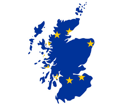 europeans: map of Scotland and European union flag illustration