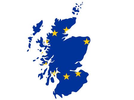 union: mappa della Scozia e la bandiera europea illustrazione
