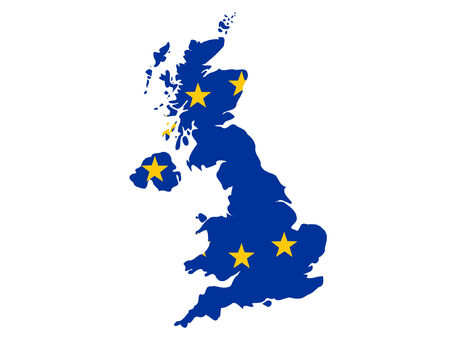 realm: map of United Kingdom and European union flag illustration