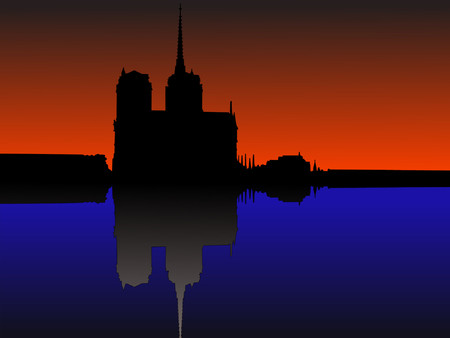 seine: Notre Dame Paris reflected in River Seine Illustration