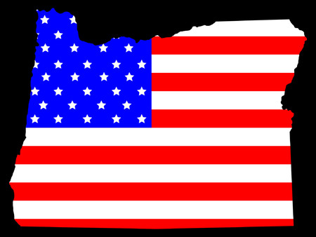 Map of the State of oregon and American flag Stock Vector - 866073