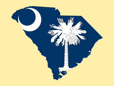 Map of the State of South Carolina and their flag