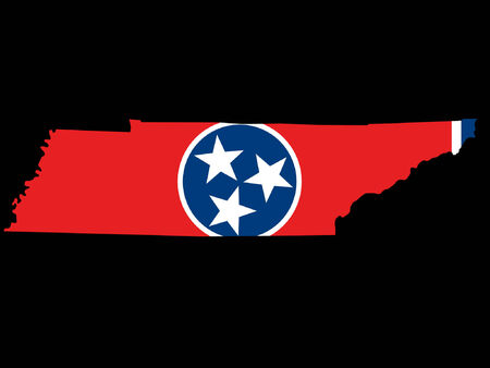 tennessee: Map of the State of Tennessee and their flag Illustration