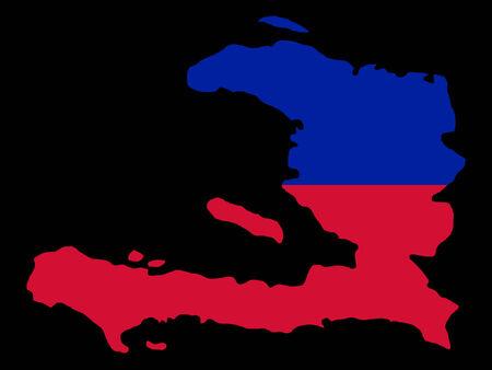 port au prince: mapa de Hait� y de la ilustraci�n haitiana de la bandera