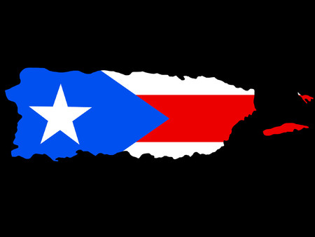 map of Puerto Rico and Puerto Rican flag illustration Vector