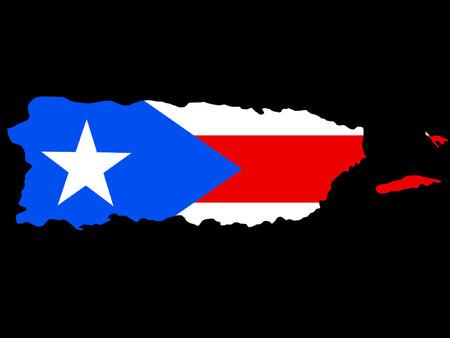 bandera de puerto rico: mapa de Puerto Rico y la bandera de Puerto Rico ilustraci�n