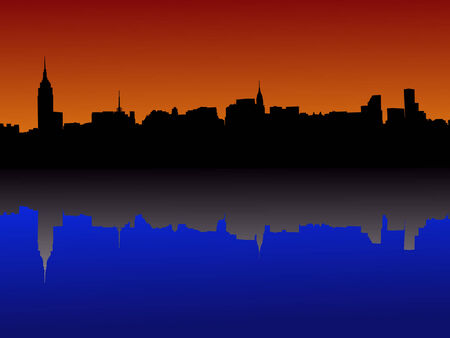 Midtown manhattan New York City skyline at dusk Vector