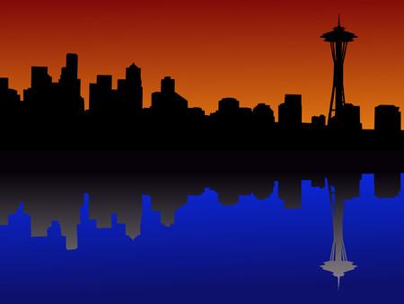 seattle: Seattle horizonte al atardecer reflejado en el agua Vectores