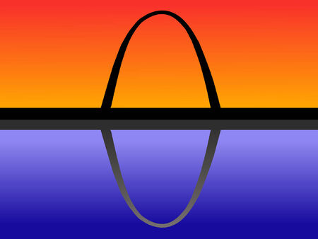 Gateway arch St louis at dusk reflected in water Vector