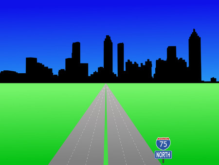 Atlanta Skyline and interstate 75 illustration