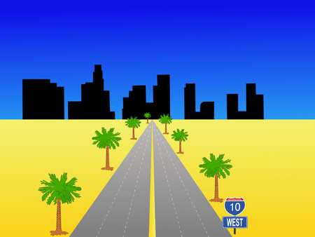 Los Angeles skyline and interstate 10 illustration Vector