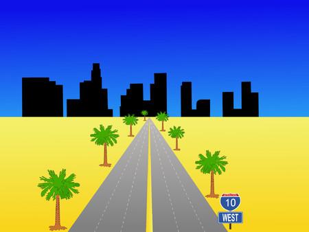 los angeles: Los Angeles Skyline und Interstate 10 Illustration
