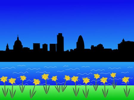 gherkin building: London skyline in springtime with daffodils in bloom Illustration