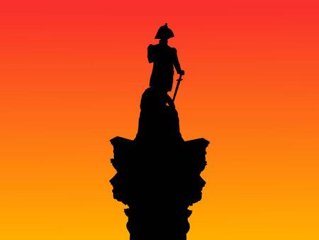 Nelson Column Trafalgar Square London England at sunset Vector