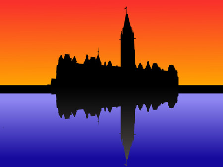 Canadian parliament at sunset with beautiful sky Vector