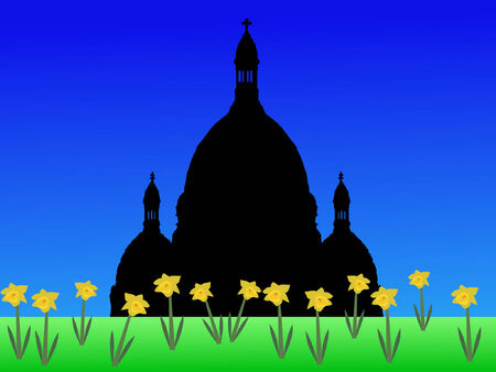 coeur: Sacre Coeur Basilica Montmartre in springtime with daffodils in bloom Illustration