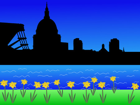 river thames: St Pauls and Millennium Bridge in springtime with daffodils in bloom