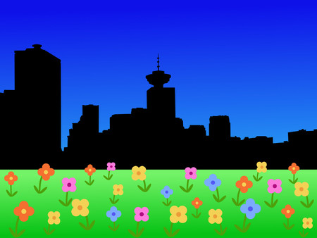 vancouver: Vancouver skyline in springtime with flowers in bloom illustration