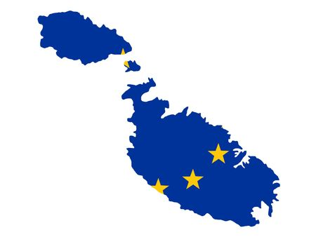 maltese map: map of Malta and European Union flag illustration Stock Photo