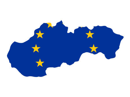 slovakian: map of Slovakia and European Union flag illustration