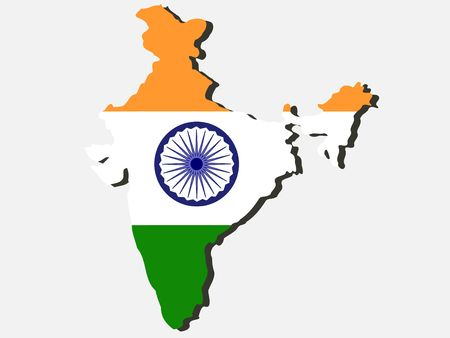 map of India and Indian flag illustration