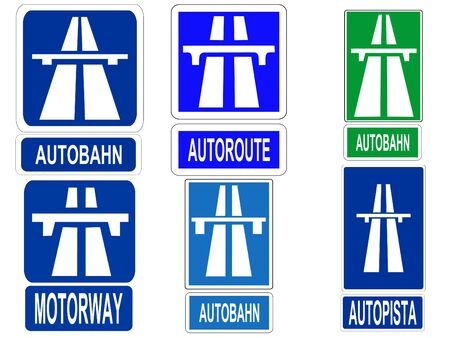 German Swiss Austrian Autobahn, French Autoroute, Spanish Autopista and British motorway sign